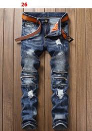 Wholesale Hip Hop Jeans Brands - hight quality 2018 new Men's Distressed Ripped Biker Jeans Slim Fit Motorcycle Biker Denim For Men Brand Designer Hip Hop Mens Jeans