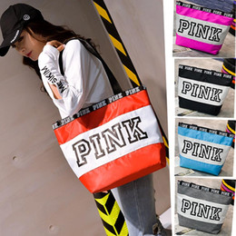 Wholesale classic yoga - 9 Clors Love Pink Handbag Shoulder Bag Classic Portable Shopping Bags Fashion Pouch for Women Pink Letter Ladies Tote Fast Shipping