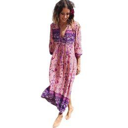Boho Robe Chic Imprimé Floral Coton Maxi Dess Col V À Manches Longues Gland Femmes Robes 2017 Automne Bohême Femme Robes ? partir de fabricateur