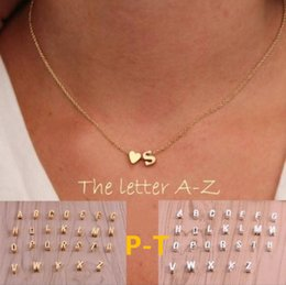 Wholesale P Pendants - 26 letters long sweater chain choker necklace tiny love heart pendants for women collier lovers gift gold silver P-T
