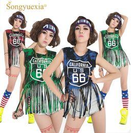 Songyuexia Disfraz de Jazz para mujer Hip-hop Tassel Vest DS Cheerleading Dancer Costumes borla Moderna ropa de baile para cantante desde fabricantes