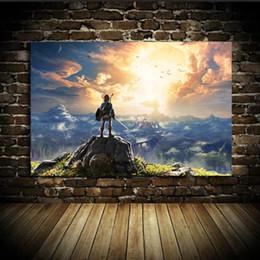 Wholesale Legend Zelda Figures - UNFRAMED The Legend of Zelda Breath of The Wild Link In The Twilight Oil Painting for Room Background Decoration