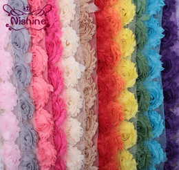Wholesale Diy Fabric Flower - NISHINE 15colors 1 Yards Chic Shabby Chiffon Flowers For Children Hair Accessories 3D Fabric Flowers For DIY Baby Headbands