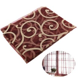 Wholesale Red Curtains For Living Room - Screen Rod Pocket Voile Curtains with Big Hooks Pattern for Bedroom Living Room 100x200cm (Wine Red)