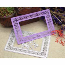 Wholesale Flower Card Craft - Flower Frame Metal Stencil Emossing Cutting Dies 3D DIY Scrapbooking Craft Die Photo Invitation Cards Decoration 98.1x150mm
