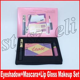 Labios de sombra de ojos online-Nuevo set de maquillaje Lip Gloss + Eye Mascara + Tease paleta de sombra de ojos 3 en 1 kit de cosméticos