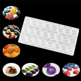 Wholesale Chocolate Candy Balls - 24 Hole DIY Half Ball Chocolate Maker mold Clear Hard Polycarbonate PC Semi Round Ball Candy small cake mould pastry tools