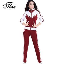 Wholesale Popular Blazers - TLZC Patchwork Style Women Casual Suits Size L-5XL Zipper Fly Lady Tracksuits Mandarin Collar Lady Popular Sportswear