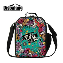 Wholesale Music School Bag - Creative Design Music Kid Lunchbox For School Small Canvas Lunch Bags For Students Girls Boys Lovely Food Meal Lancheira Thermal Cooler Bags