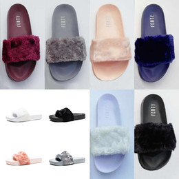 High Quality Leadcat Fenty Rihanna Faux Fur Slippers Women Indoor Sandals  Girls Fashion Scuffs Pink Black White Grey Slides With Box 6d21841aa4a7
