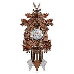 Pendolo orologio online-VENDITA CALDA Vintage Home Decorativo Uccello Orologio Da Parete Appeso Orologio a Cucù Legno Soggiorno Pendulum Artigianato Per Nuovo