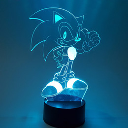 Luzes figura natal on-line-O Sonic 3D Nightlight Visual Illusion LED RGB Alterar Sonic The Hedgehog Action Figure Novidade Luz para o Natal