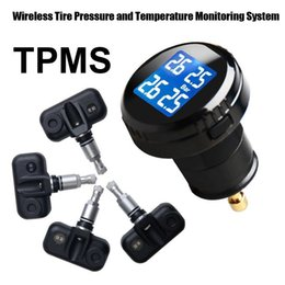 Wholesale tire pressure monitoring systems - Latest Smart Car TPMS Tire Pressure Monitoring System cigarette lighter Digital LCD Display Auto Security Alarm Systems Tyre Pressure