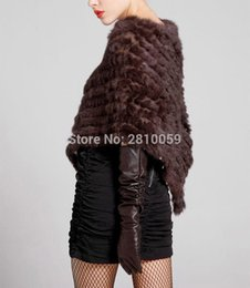 Wholesale knitted rabbit poncho - J0193 Knit knited rabbit fur Shawl poncho stole shrug cape robe tippet amice wrap genuine fur shawls jackets real