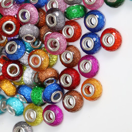Contas de resina facetada on-line-Atacado GROSELOS GROSOS 50 Peças de Pacote Grande Misturado Glitter Facetada Grande Buraco Resina Contas LIVRE ENTREGA