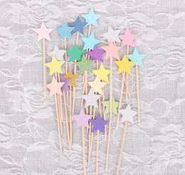 Wholesale cake stars - Cupcake Toppers Golden Mix Color Star Paper Cake Toppers Children Favors Decorations For Wedding Baby Shower