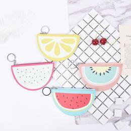 Wholesale Girls Banks - Cartoon Mini Wallet For Girls Watermelon Bag Fruit Pattern Kid Purse Keyring Coin Purse Bank Card Holder 1PCS
