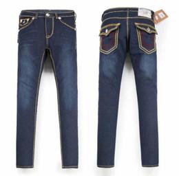Gerade schlauch online-Herren-Jeans mit geradem Schnitt Langen Hose Hosen der Männer Wahren Coarse Linie Religion Jeans Kleidung Mann beiläufigen Bleistift-Hosen-Blau Schwarz-Denim-Hosen