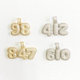 Colares número pingentes on-line-Nome personalizado Números de Bolha Colares Pingente Para Mulheres Dos Homens 0-9 Cor de Ouro com Cadeia de Corda Cubic Zircon Hip Hop Presentes da jóia