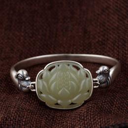 silber entenschmuck Rabatt FNJ 925 Silber Lotus Jade Armreifen für Frauen Schmuck Blume Vogel Mandarinente 100% Original S925 Sterling Silber Armreif