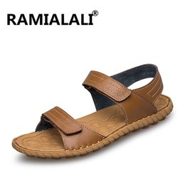 Wholesale Light Weight Cotton Fabric - Ramialali Top Quality Mens Sandals Genuine Leather Summer Cool Light Weight Beach Slippers Handmade Stitching Schoenen Plus 45