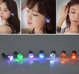 Wholesale Mounting Studs - LED Flash Earrings Flash Lighting Up Bling Ear Studs Earrings Club Party Cool Earring Gift 500pcs