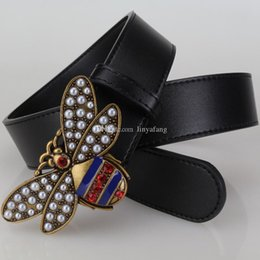 Wholesale Wide Leather Belt Black - Hot New fashion bee big buckle belts for men women genuine leather brand luxury belt designer belts Mens best quality gift