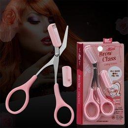 Peinados para caballeros online-Rosa tijeras recortadora de cejas con peine Lady Woman Men depilación Utensilios Shaver afeitadora de pestañas Pinzas para el cabello