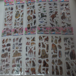 Wholesale Girls Sticker Album - 100Pcs 3D Animal Dinosaur PVC Stickers for kids Girls Boys Birthday Gift Children DIY Toys Notebook Album Calendar Stickers