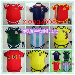 Wholesale New Belgium - 2018 World Cup Spain 6-18 month home Baby soccer jersey new Belgium Mexico Japan soccer Jersey Sleeved Jumpsuit Bebé Triangle Climb Clothes