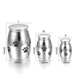 Wholesale urn funeral - LCC001 Personalized Mini Stainless Steel Funeral Casket Jewelry For Pet Cremation Ashes Keepsake For Dog Print Memorial Urn