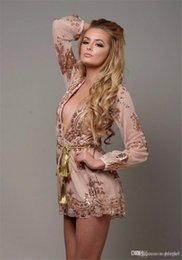 34e59615cfd Sexy Deep V-neck Hollow Out Lace Sequin One Piece Party Playsuit Women Long  Sleeve Short Pant Jumpsuit Romper KD-016