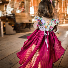 Vestito sleeveless lungo floreale di modo online-Moda Bambini Neonate Indietro Lungo anteriore Abito corto Baby Girls Estate floreale Fly Sleeve abiti da sera