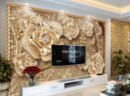 papel de parede de flores para paredes Desconto Papel de parede personalizado para paredes do quarto Sala de estar pano de fundo TV fundo papel de parede Jóias flores papéis de parede decoração de casa 3d