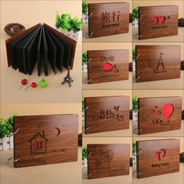 Wholesale Diy Handmade Photo Album - 2017 NEW Mahogany DIY Photo Album fotografia with Large Hoop Handmade Creative Gift Loose-leaf Baby Love Wedding Record 8 Inch