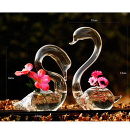 Wholesale wholesale glass vases for weddings - O.RoseLif Swan Flower Vase for Wedding Decoration,Home Decor Glass Vase Transparent Valentine's Gift