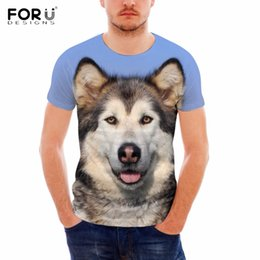 Wholesale Teen Boys T Shirt - FORUDESIGNS Brand Men Summer T Shirts Cute Dog Alaskan Malamute Print Short Sleeve Tops Tees Casual Teen Boys T-shirts Plus Size