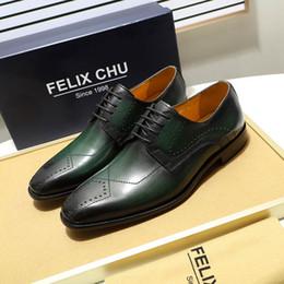 zapatos formales verdes Rebajas FELIX CHU de lujo para hombre zapatos de vestir de cuero genuino del dedo del pie puntiagudo Brogue Derby Shoes verde negro macho con cordones de cuero formal