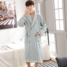 f0041aedf0 Cotton material Robes Japanese Kimono Men Bathrobe Plaid V-neck Spas Pijama  Hombre Plus Size M