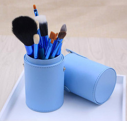 Wholesale Wholesale Professional Makeup Brush Holder - Hot selling top quality 12pcs Makeup Brush Set+Cup Holder Professional Cosmetic Brushes set With Cylinder Cup Holder dhl free shipping