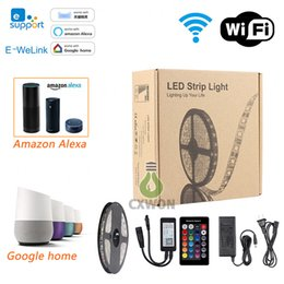 Wholesale Led Rgb Controller Wifi - Wifi LED Strip Light Work with Alexa google home phone control 12v 5050 RGB Waterproof IP65 strip+24key controller+power adapter