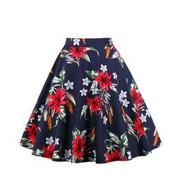 Women's Clothing Runway Vintage Swing Skirts 50s 60s Summer Style Fruit Floral Midi Women Cotton Rockabilly Midi Retro Hepburn Skirt Womans Girl