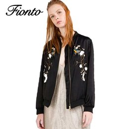 Wholesale Pc Basic - 1 PC Casual Bomber Jacket Spring Women Tops Stand Collar Vintage Black Coat Embroidery Flowers Outwear Women Basic Jackets F534