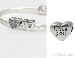 Wholesale cheap clear plates - cheap 925 Sterling Silver Wedding with The Two-tone Clear CZ heart Charm Beads Fit Pandora Bracelet Gold Plated Heart for Jewelry Making