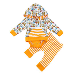Wholesale Owl Baby Pants - Newborn Clothes Set 2018 Spring Autumn Toddler Infant Baby Boys Girls Clothing Jumpsuit Hooded Romper Pants 2PC Owl Bird Printed Outfits Set