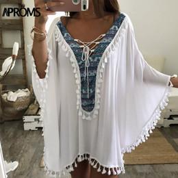 7c3b6d7ccf Aproms Enthnic Print Tassel Beach Plus Size Blouses Women Boho V Neck Lace  up White Tunic Top Bikini Cover Kimono Shirt Blusas Y1891302
