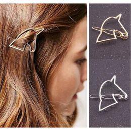 2019 einhorn gold Frauen aushöhlen Einhorn Haarnadel Gold / Silber Einhorn Haarspangen weiblichen Einhorn Haarspange Headwear Haar-Accessoire günstig einhorn gold