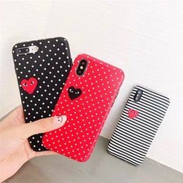 Iphone point blanc en Ligne-Hot Designer Striped Dot Amour Motif Téléphone Cas Couverture De Mode pour IPhone XS MAX XR XS 7PLUS 8PLUS 7 8 6P 6SP 6 6S Noir Rouge Blanc Cas