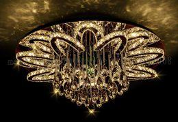 Argentina Dia 100 cm Personalidad creativa Ronda de lujo de acero inoxidable Lámparas de techo LED K9 Luces de cristal Iluminación para el dormitorio Comedor Sala de estar supplier stainless steel ceiling lights Suministro
