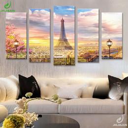 Dipinti soggiorno online-5 Panel Canvas Prints Wall Art Immagine modulare New York Paesaggi Parigi Nordic Poster Quadri Sitting Room And Room Affiche2018 Y18102209